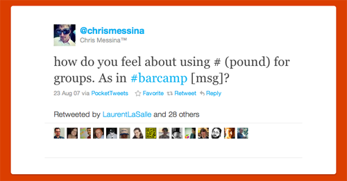 El Primer tweet con un # Hashtag